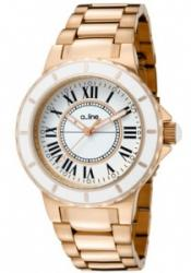 a_line 20014 Women's Marina White Dial Rose Gold Tone Ion Plated SS
