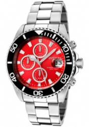Invicta 1004 Men's Pro Diver Chronograph Red Dial Stainless Steel