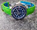 FS: Lime Green Toad Strap + Aqua Blue Stitching & Toad Lining for Breitling SuperOcean