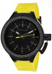 Activa AA300-014 Men's Black Dial Yellow Polyurethane