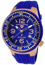 SWISS LEGEND 21848P-RG-03 Men's Neptune Blue Dial Rose IP Case Blue Silicone